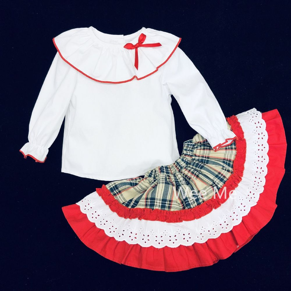 New Arrival Baby Girl Spanish Beige Tartan Skirt Set with Collar Shirt
